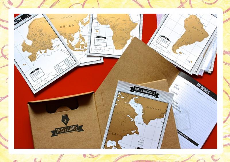 Libro de viajes Travelogue. Mapas para rascar