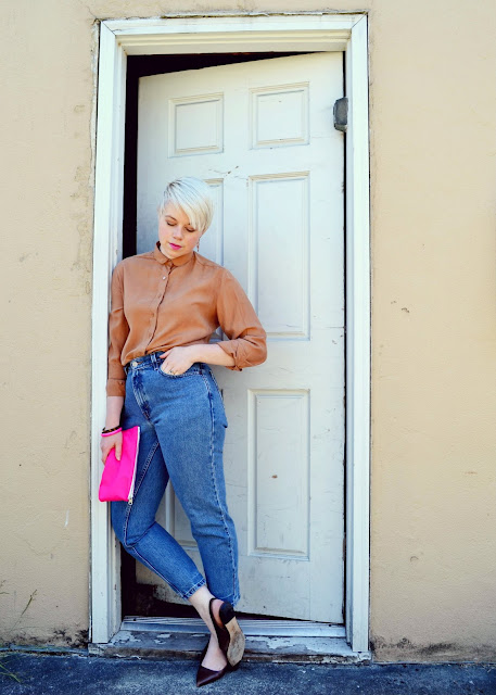 silk, blouse, vintage dior, classic levi's, pink lipstick, blonde pixie, street style, seattle
