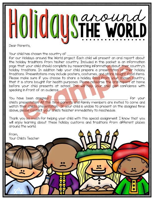 Holidays Around the World Parent Letter