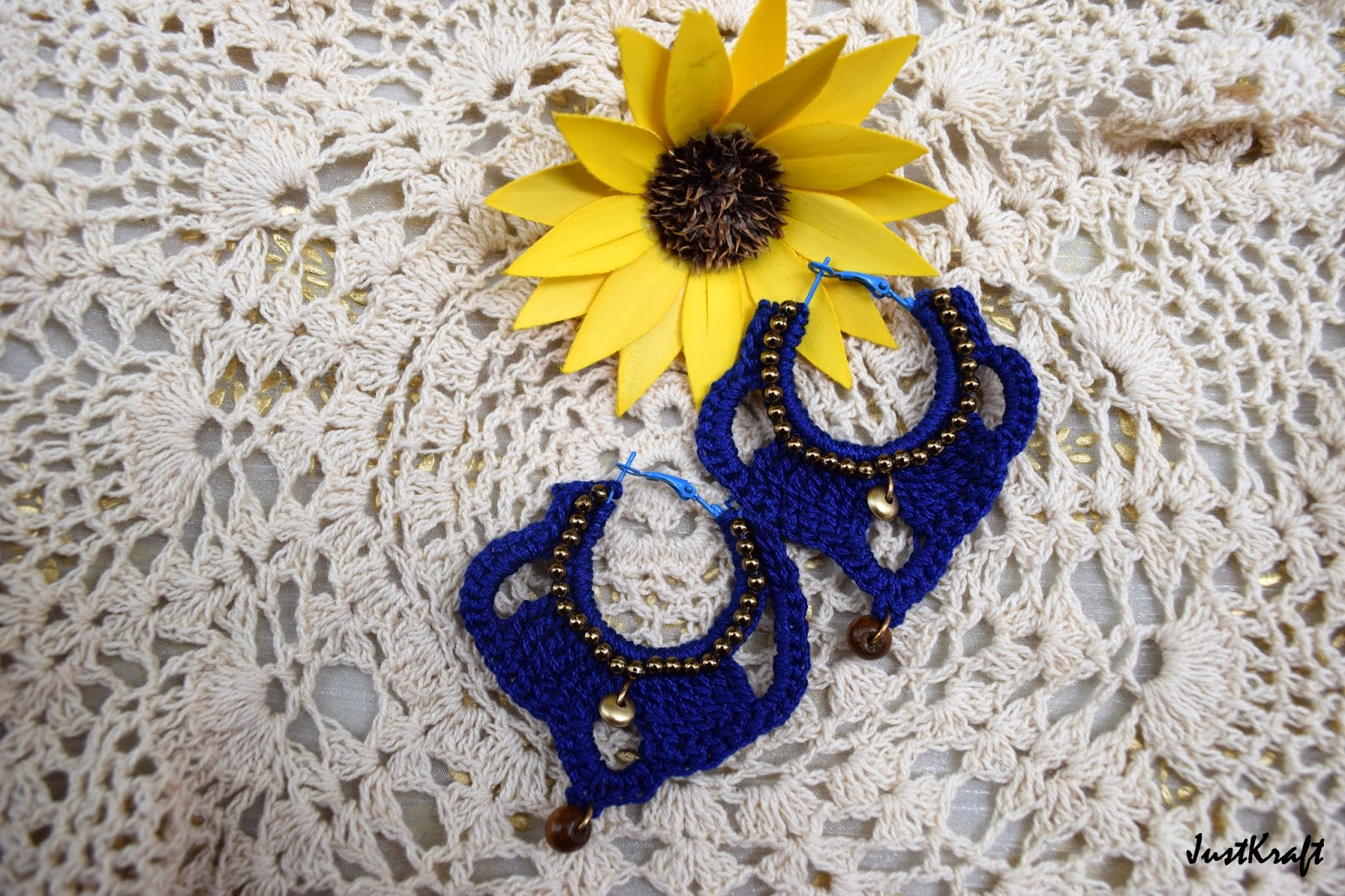 Blue loop golden beaded crochet earrings