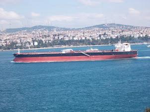Watching a Tanker ship navigate from Topkapi Palace.