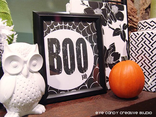 halloween mantel ideas, decorating your mantel for hallloween, boo