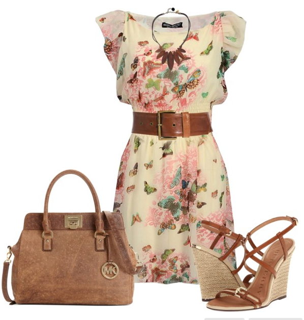 Summer gown, belt, hand bag and high heel sandals for ladies