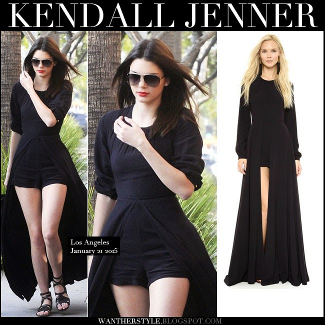 Get The Look For Less Kendall Jenner In Black Caped Playsuit And