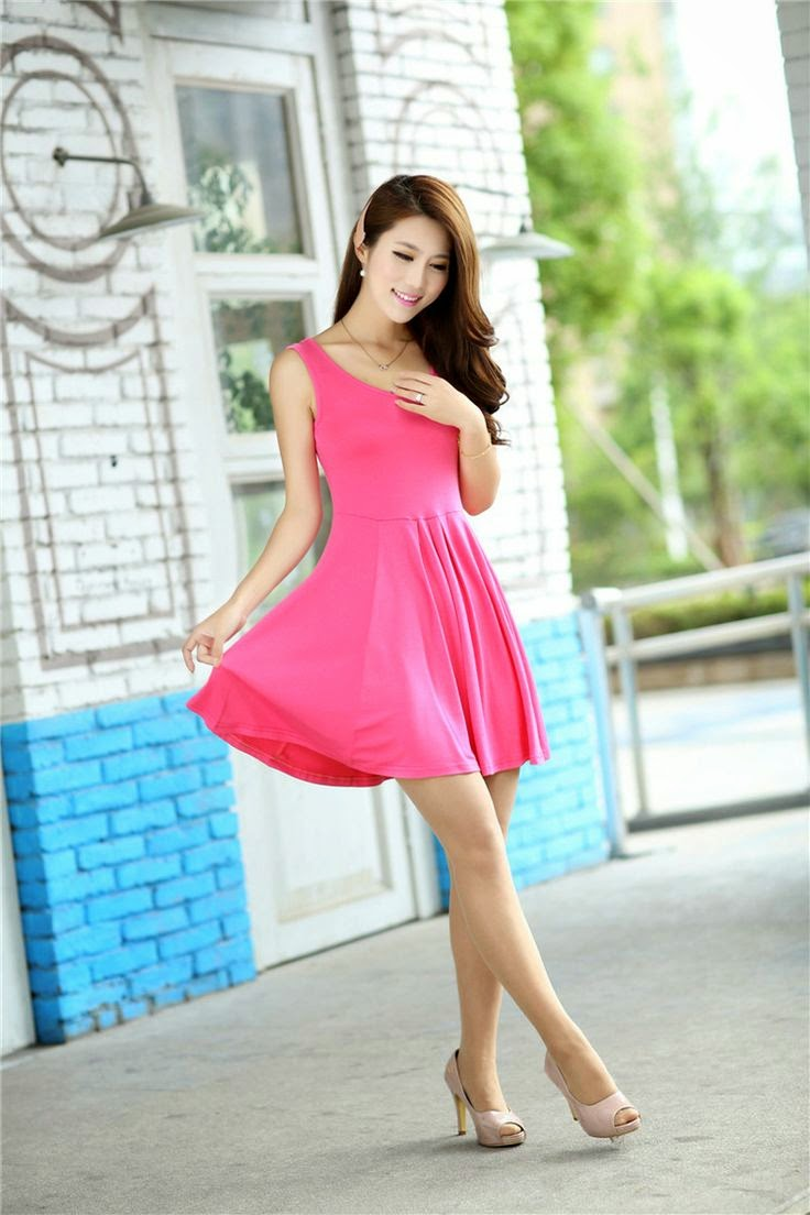 Stretchy vest dress, skater sleeveless dress ghl1029,