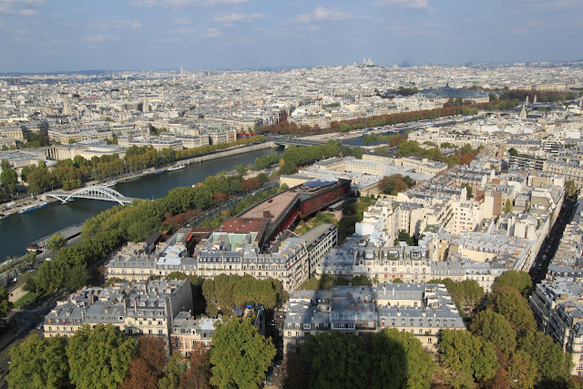 Top view of Paris downtown from the observation deck of Eiffel Tower in Paris, France