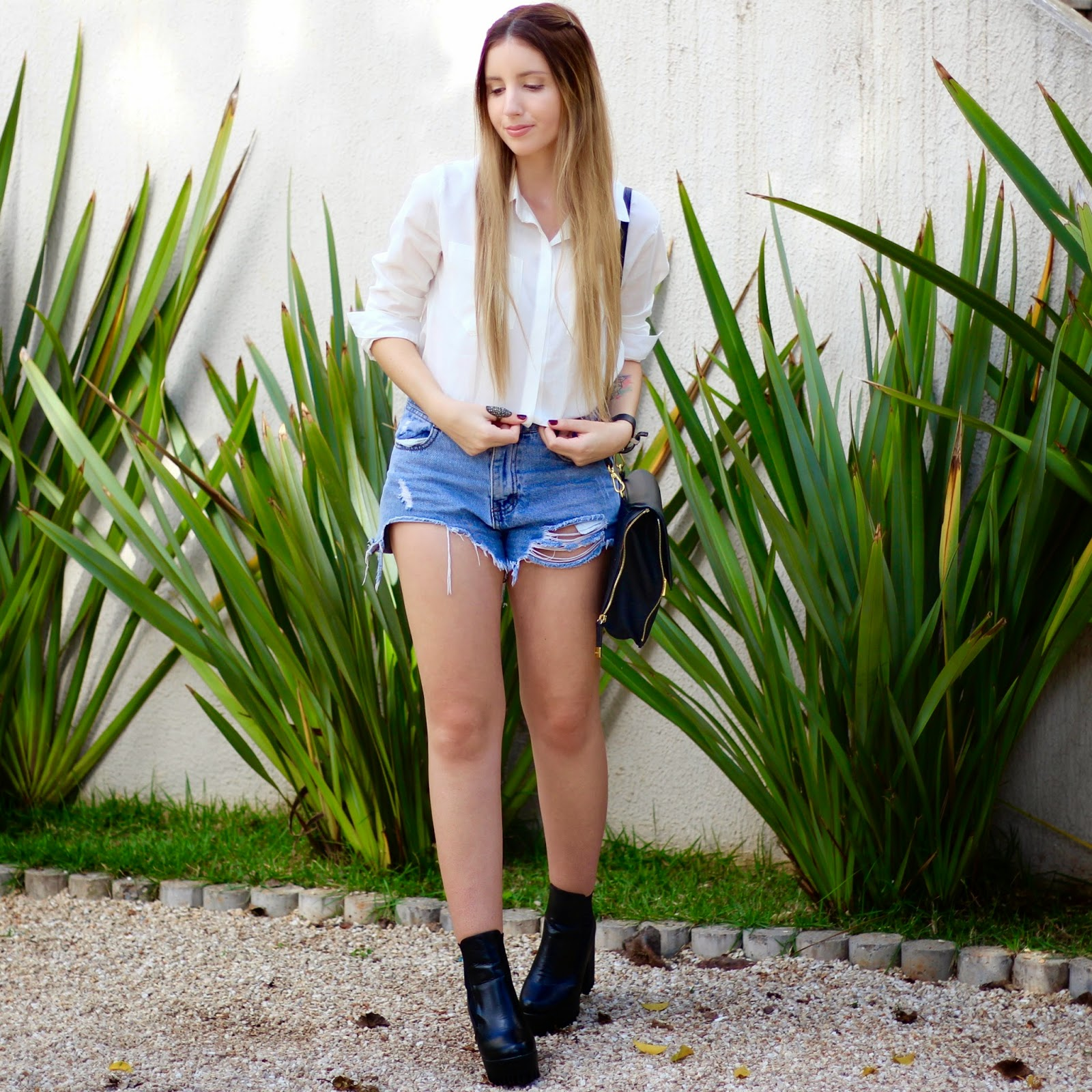 look do dia camisa social e jeans