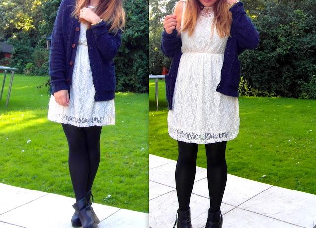 Teddy's cardigen and a lace dress