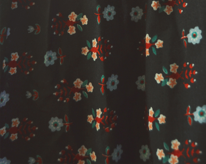 The Flying Clubhouse: The Woods at the Edge of the Meadow // 70s dark floral print