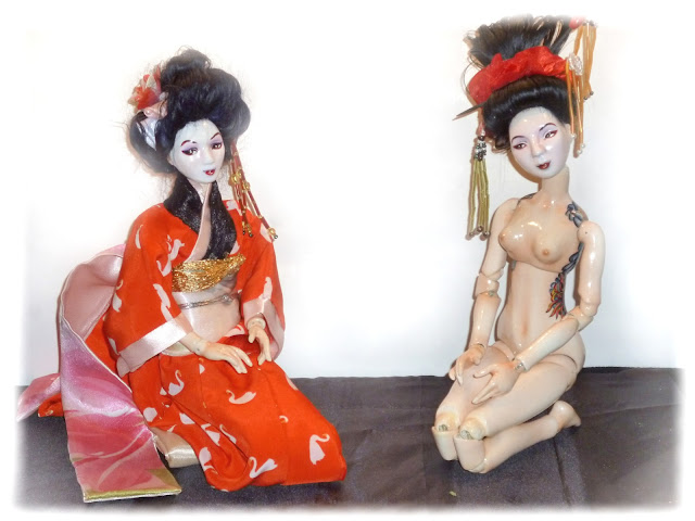 porcelain ball jointed porcelain geisha doll