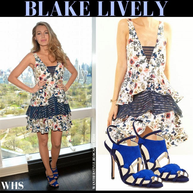 Blake Lively in blue white floral print mini dress Amour Vert with blue suede sandals Sarah Flint Clara what she wore spring summer floral fashion