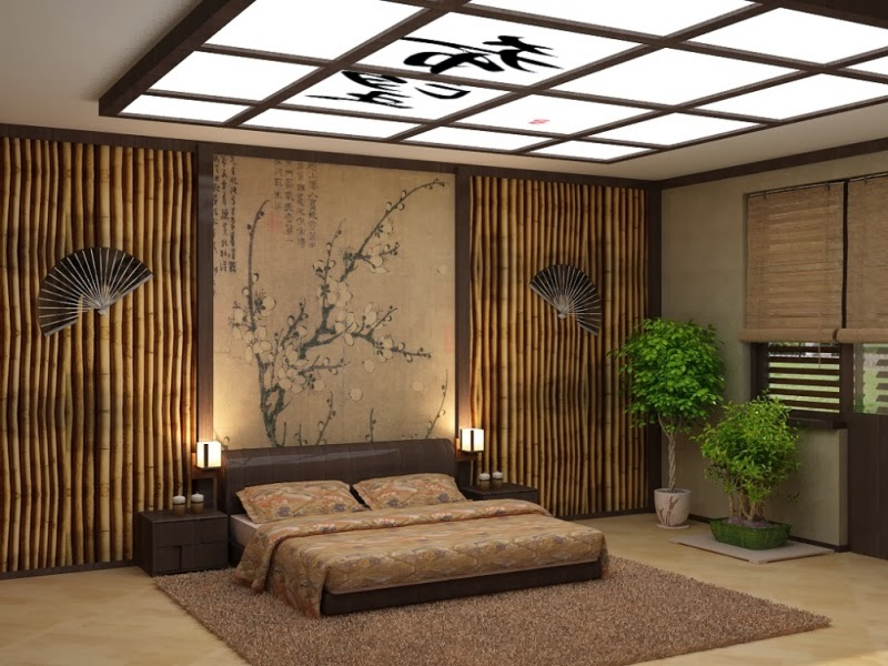 10 false ceiling designs in japanese style for Japanese bedroom designs pictures
