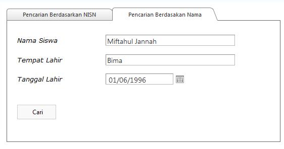 Contoh pencarian NISN bedasarkan nama