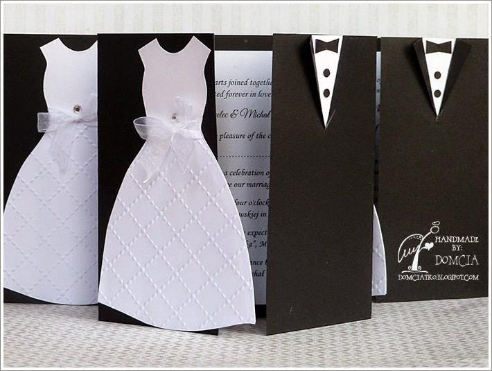 weddind invitation, white and black, wedding, ślub, czarne zaproszenia, zaproszenia ślubne, zaproszenie garnitur i suknia