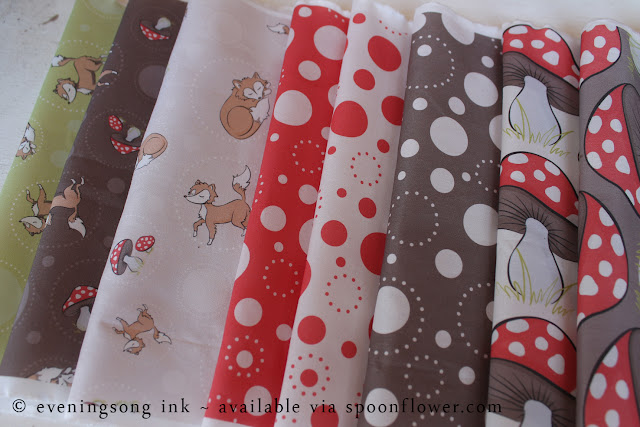 Sassy Fox fabric collection eveningsong ink spoonflower fabric