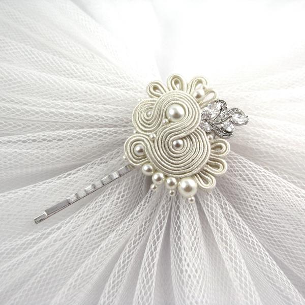 Sutasz ślubny wsuwka do włosów z perłami i cyrkoniami