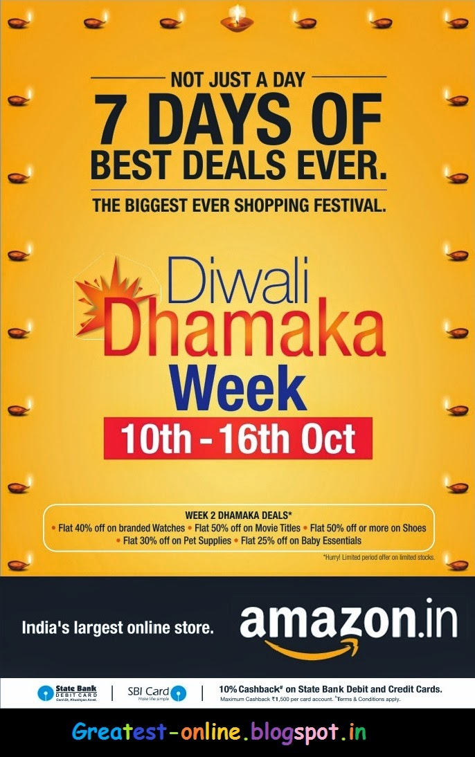 Amazon India Diwali Offers, Deals and Discounts From 10 Oct - 16 Oct 2014