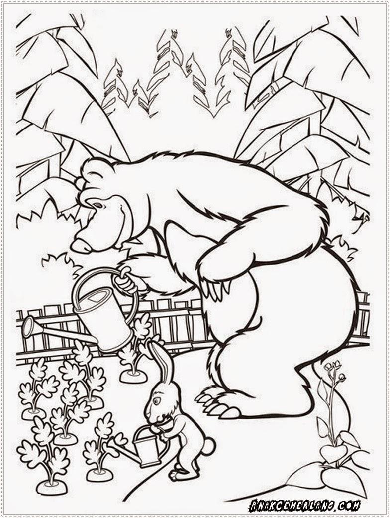 gambar mewarnai masha and the bear