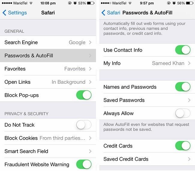 Keychain passwords in Safari