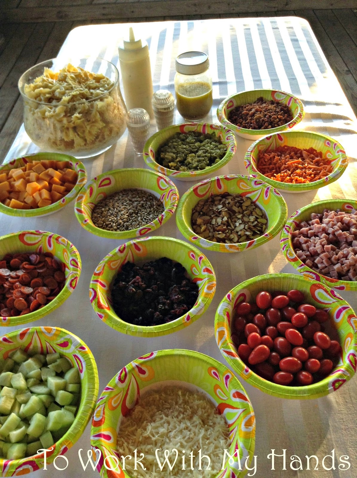 Create a quick and filling summer lunch with a pasta salad bar.