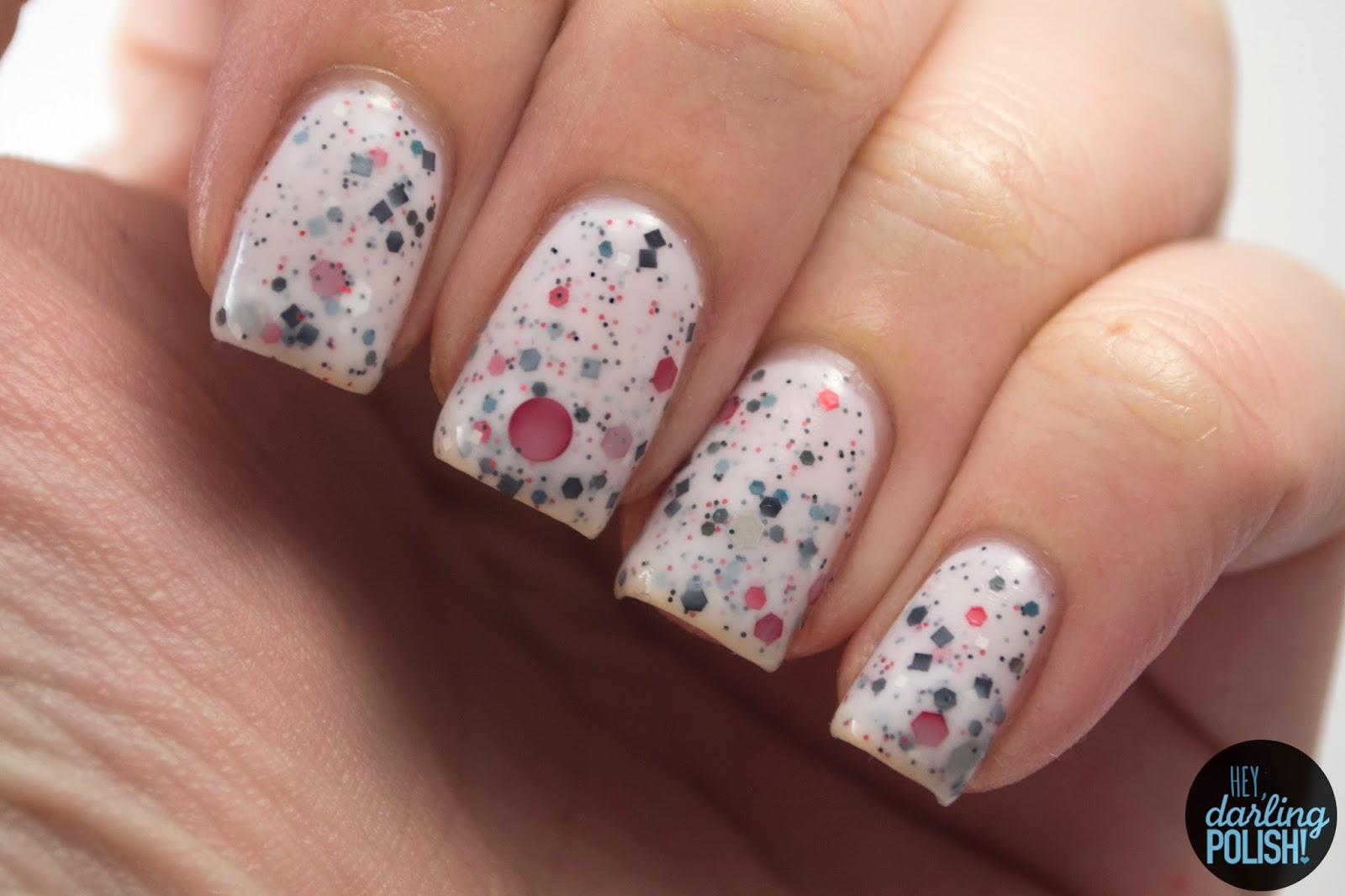 truly madly deeply, white, red, black, grey, glitter, nails, nail polish, polish, indie, indie nail polish, indie polish, hey darling polish, squishy face polish