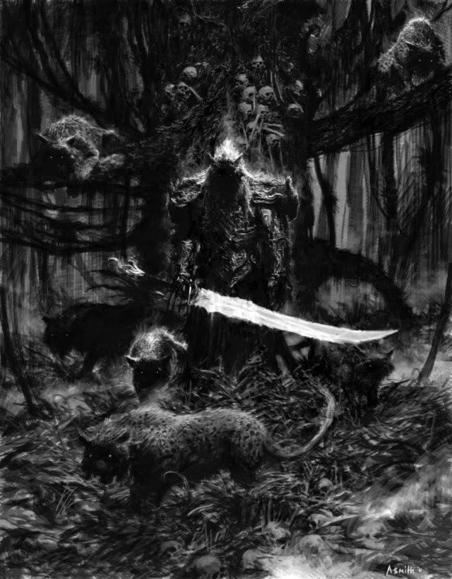 Imagen oscura de un caballero demoníaco y aterrador con espada en mano y unas bestias acompañándolo.