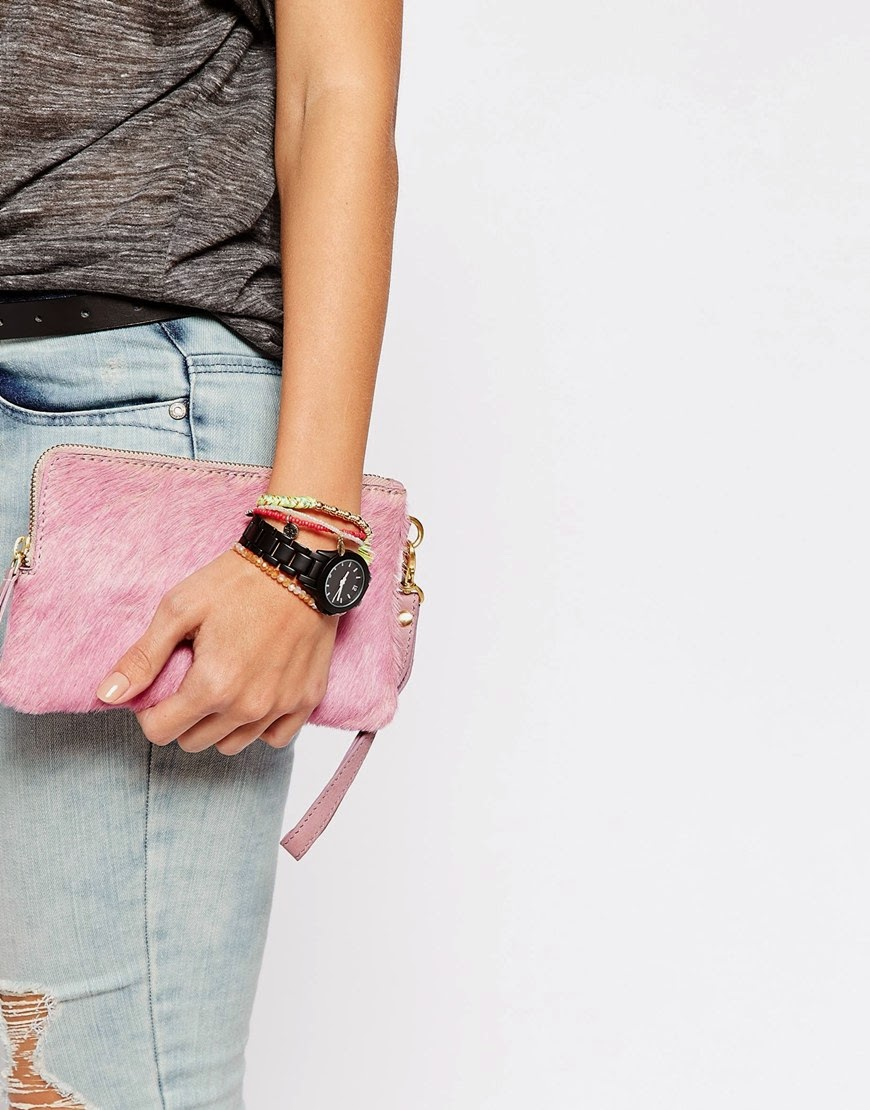 pink pony hair clutch, pink leather hair clutch, becksondergaard pink leather bag,