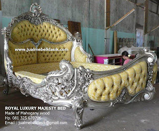 Supplier Indonesia Classic Furniture Supplier Classic carved bed supplier jepara classic wooden bed supplier silver painted furniture supplier bed painted silver