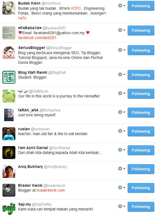 Petua Teknik dan 5 Tips Tambah Follower Twitter