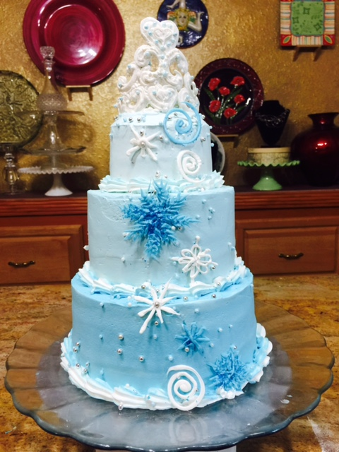 Frosted Art Frozen Themed Stacked Cake With Crown Cake Decorating