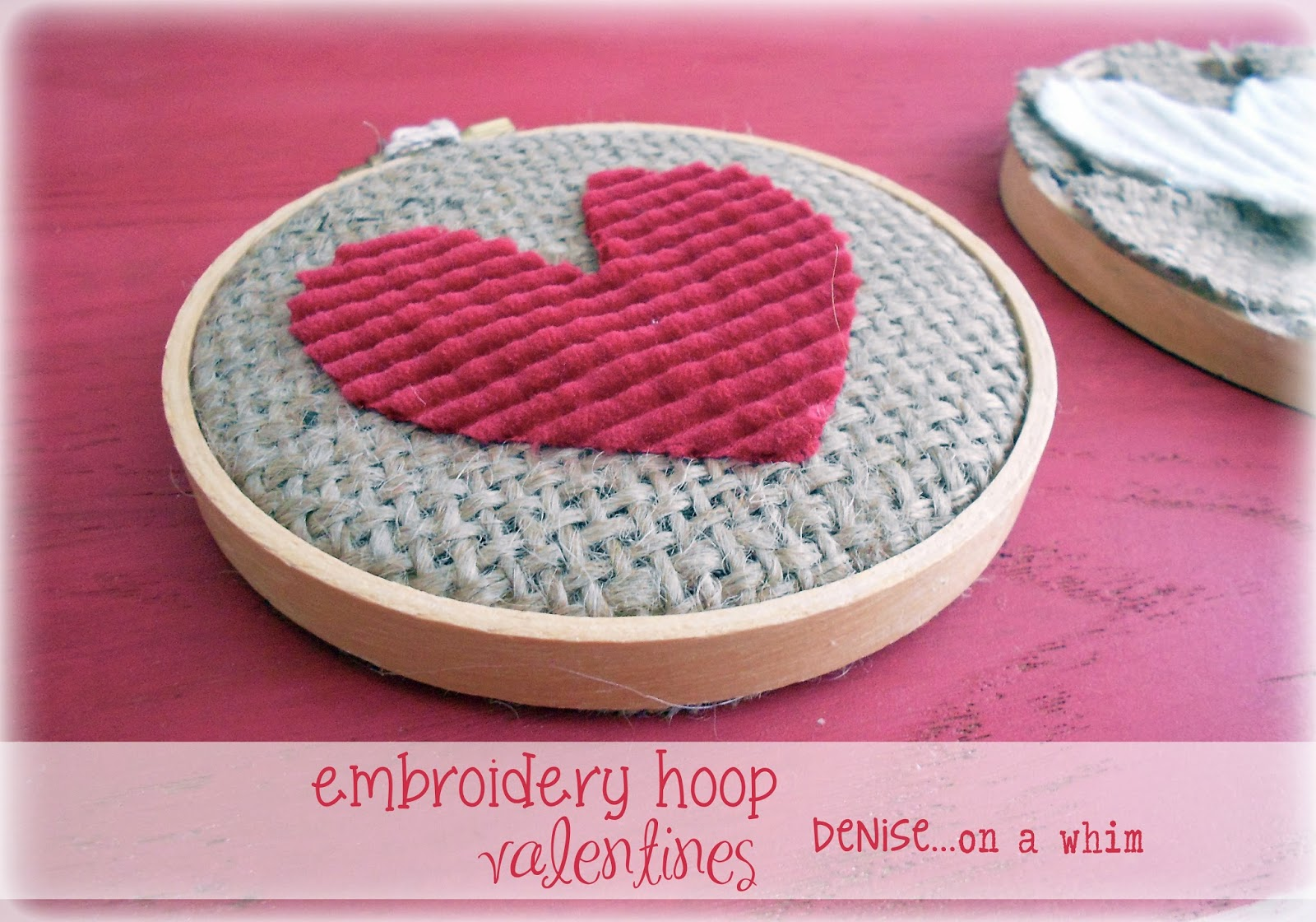 Sweet Valentines from Embroidery Hoops and Sweater Scraps via http://deniseonawhim.blogspot.com