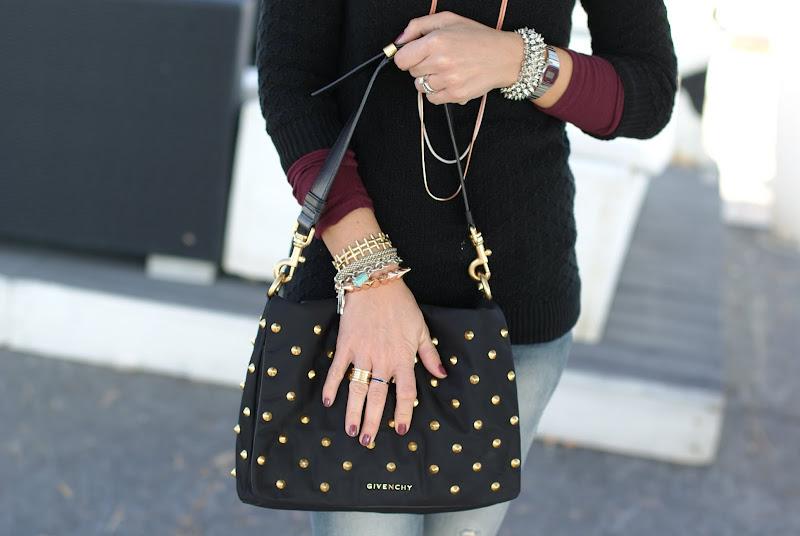 studded Givenchy bag, Essie angora cardi