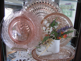 Pink Depression Glass Table