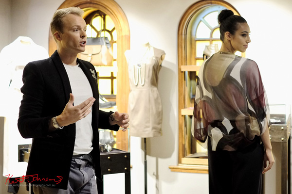Model wears Silk printed Shawl, styling event at Cara&Co Sydney.