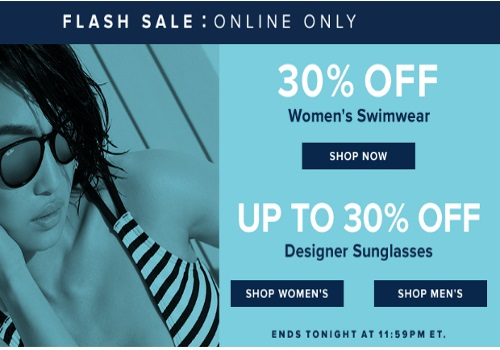 Hudson's Bay Flash Sale 30% off Swimwear + Up To 30% Off Designer Sunglasses