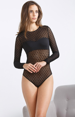body plumetis con topos negro Elsa Pataky Women'Secret