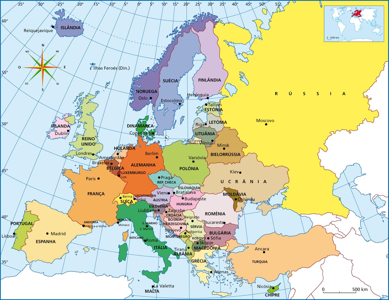 Mapa politico da Europa