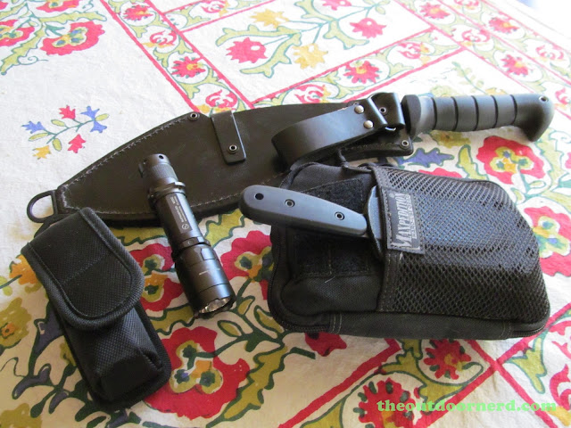 Ka-Bar Kukri Machete With Nitecore EA4, Sunwayman M20C, Maxpedition EDC Organizer