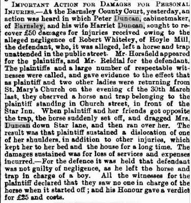 A long newspaper snip describing an accident in the vicinity of the Star Inn, details in the text below.