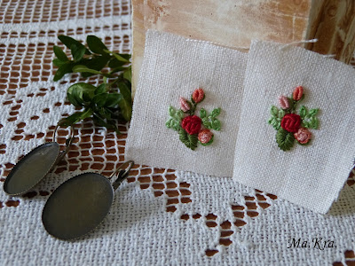 hand embroidery, kolczyki z haftem, hand embroidered earrings
