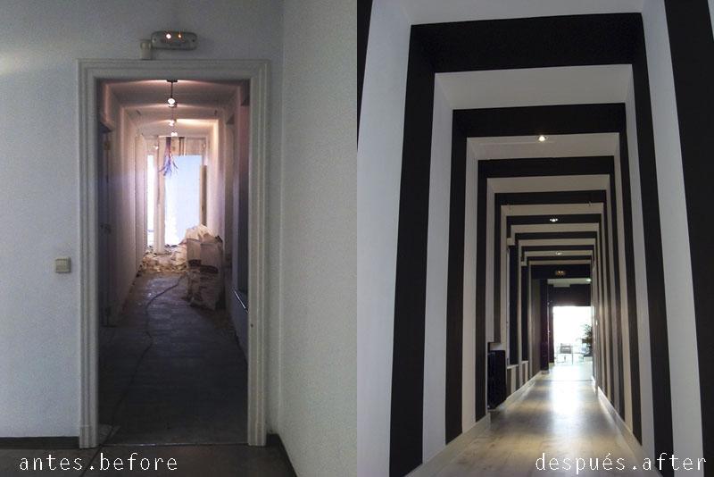 Doos interiorismo una oficina en blanco y negro - Pasillos pintados a rayas ...