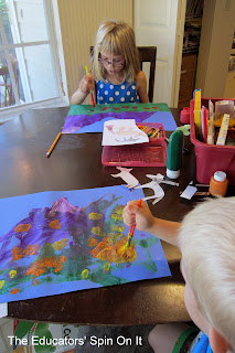 Painting purple mountains an art activity with kids