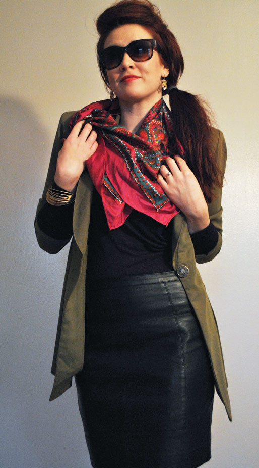 a style of your own blog, black leather pencil skirt, gold bangles, Banana Republic top. pink floral scarf, j crew earrings