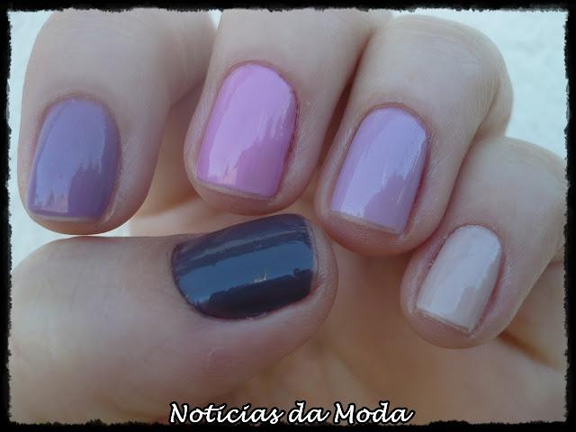 degrade nas unhas com esmaltes na cor lilas