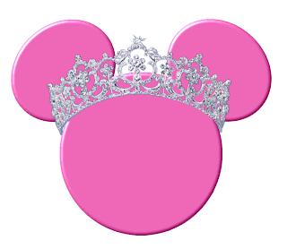cabeza de minnie mouse de color rosa con corona