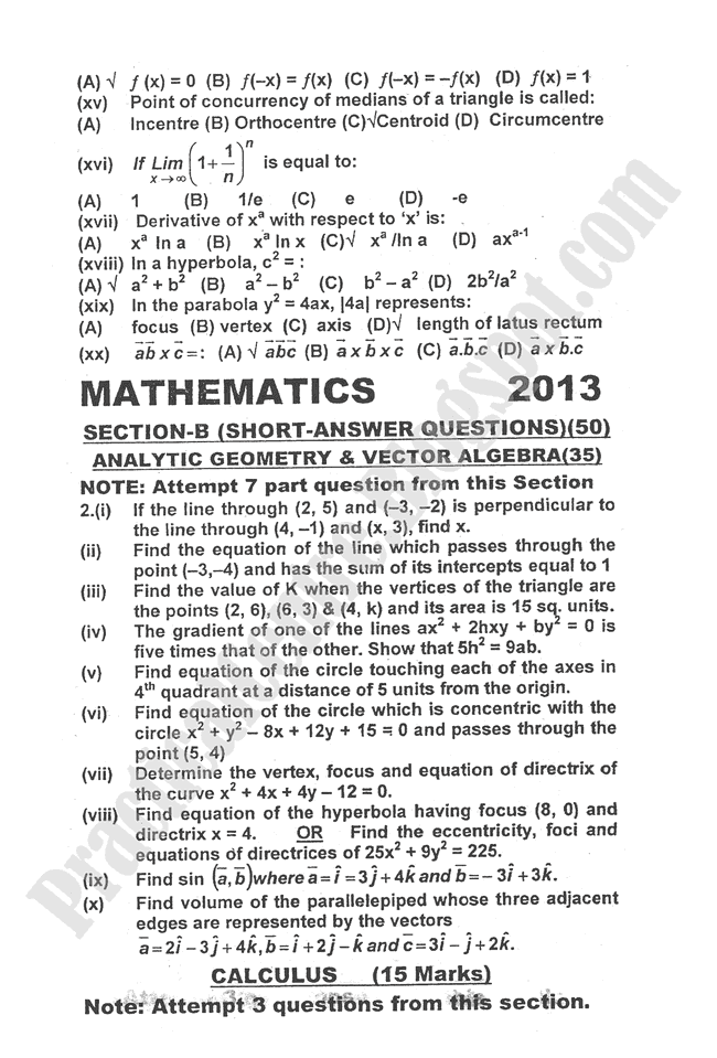 Mathematics-2013-five-year-paper-class-XII