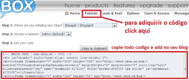 como colocar caixa de mensagem cbox no blogger