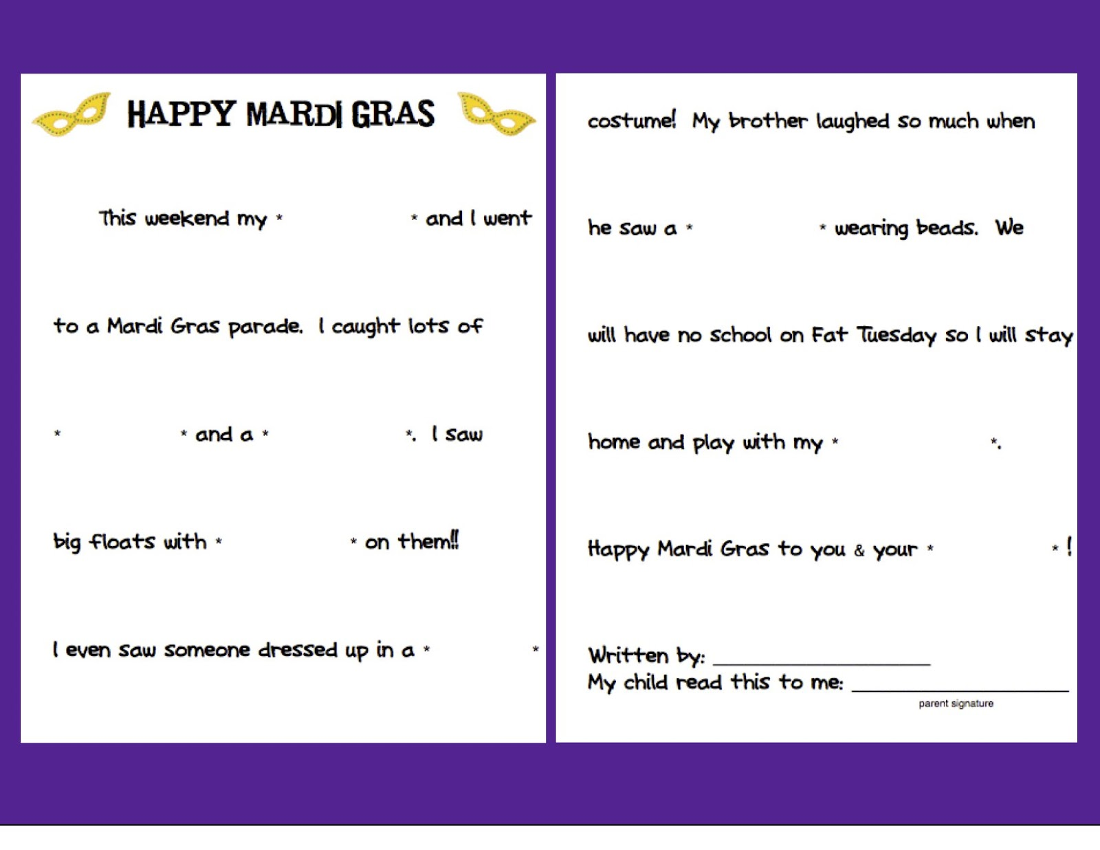 graphic about Mardi Gras Trivia Quiz Printable named Mardi Gras Freebie!!