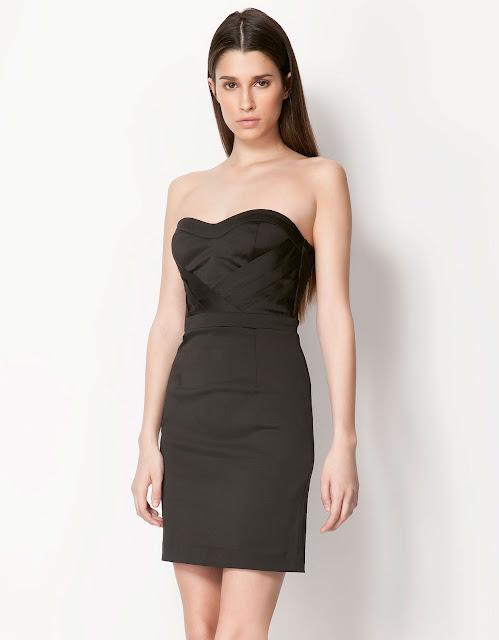 siyah kısa gece elbisesi, straplez elbise