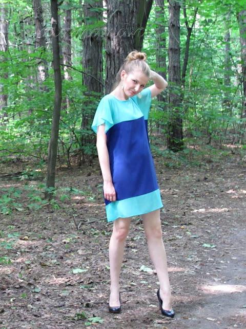 Chabrowo-miętowa sukienka